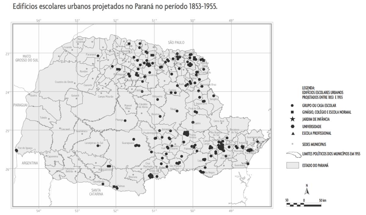 Edifícios escolares urbanos projetados no Paraná no período 1853-1955