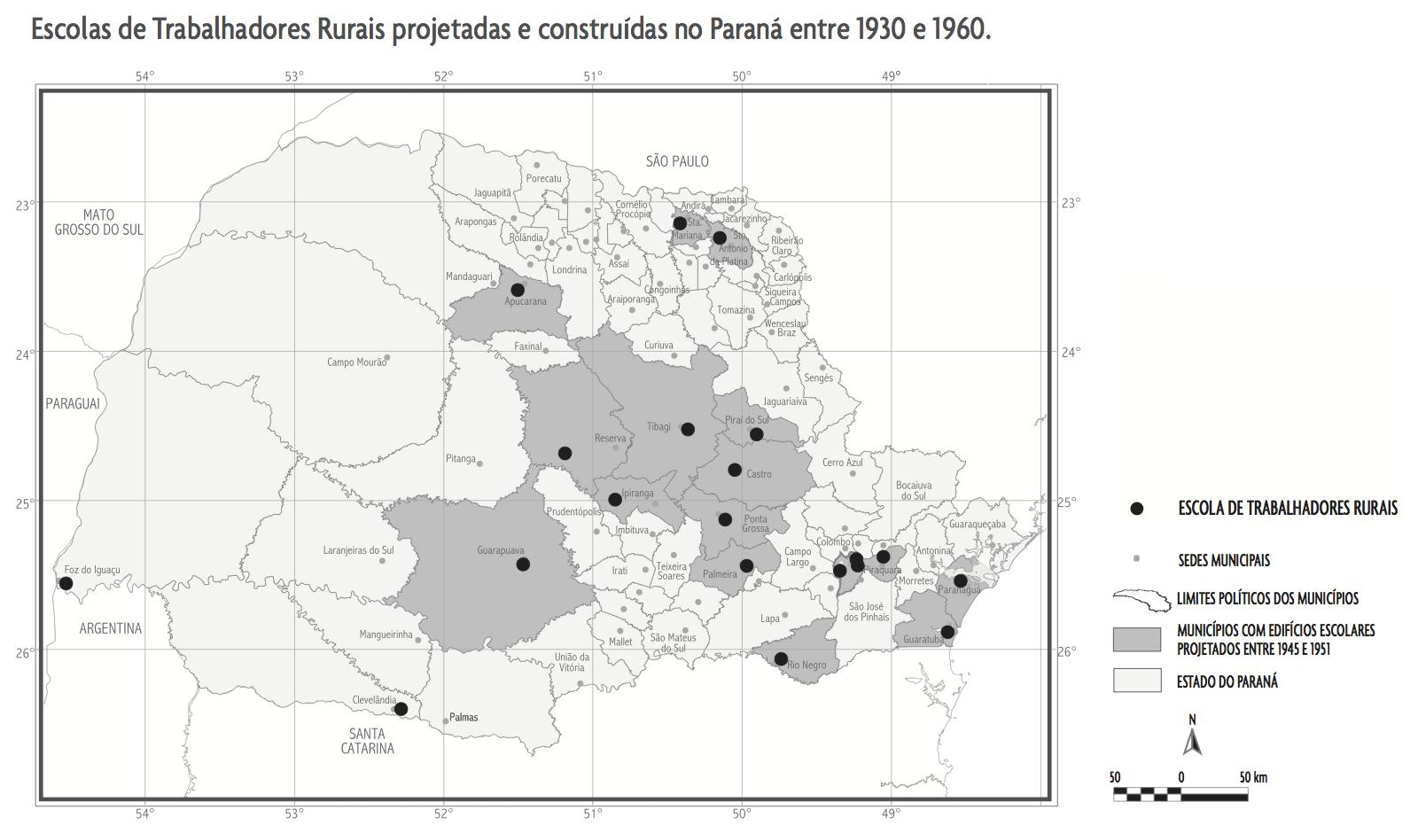 Escolas de trabalhadores rurais projetadas e construídas no Paraná entre 1930 e 1960
