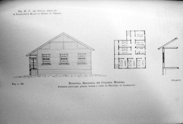 5 – Fachada, planta e corte do Pavilhão de Isolamento.