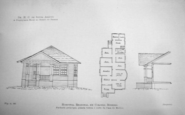 6 – Fachada, planta e corte da Casa do Médico.