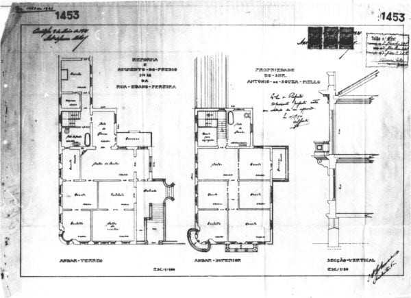 2 - Plantas dos pavimentos térreo e superior e corte transversal.
