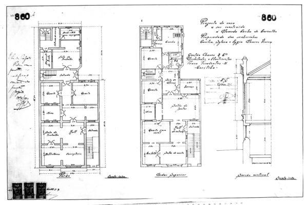 2 – Plantas dos pavimentos térreo e superior e corte transversal.