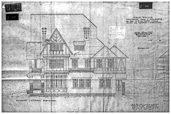3 –Desenho da fachada lateral esquerda.