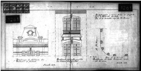 3 – Projeto arquitetônico com modificações a serem realizadas na platibanda, janelas e curva.