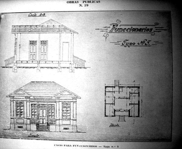 10 - Fachada, planta e corte de Casa Tipo Nº 5 (1924/1925).
