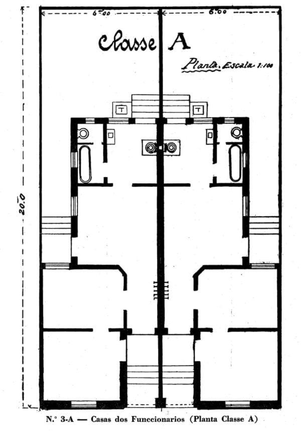 3 - Planta de casa para Funcionários: Classe A (1923/1924).