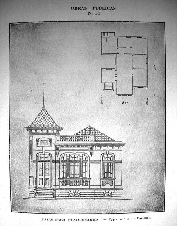 5 - Fachada e planta de Casa Tipo Nº 1 –variante (1924/1925).