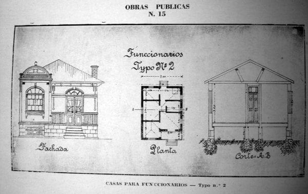6 - Fachada, planta e corte de Casa Tipo Nº 2 (1924/1925).