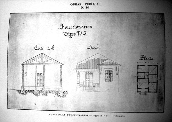 8 - Fachada, planta e corte de Casa Tipo Nº 3 - variante (1924/1925).