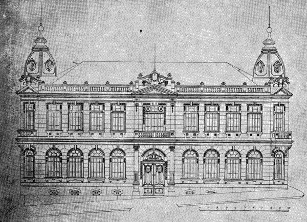 Fachada principal do edifício para Coletoria Estadual Repartição de Água e Esgoto, Instituto Comercial, Junta Comercial apresentada em 1924