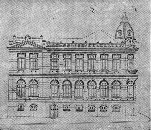 Fachada lateral esquerda do edifício para Coletoria Estadual Repartição de Água e Esgoto, Instituto Comercial, Junta Comercial apresentada em 1924