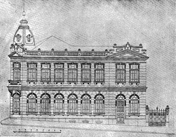 Fachada lateral direita do edifício para Coletoria Estadual Repartição de Água e Esgoto, Instituto Comercial, Junta Comercial apresentada em 1924.