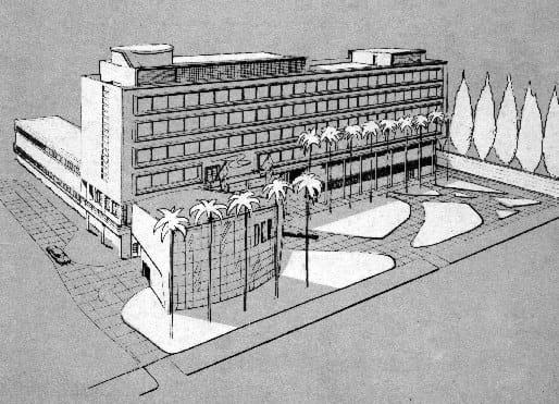 Perspectiva do projeto arquitetônico inicial para a sede do DER/PR.
