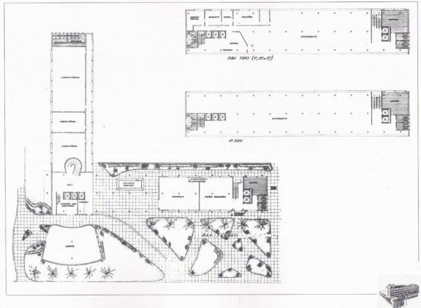 Plantas do térreo e dos quato pavimentos do projeto arquitetônico inicial para a sede do DER/PR.