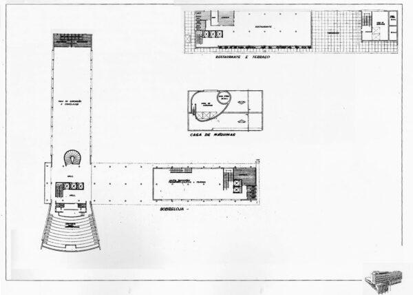 Plantas do térreo, terraço e casa de máquinas do projeto arquitetônico inicial para a sede do DER/PR.
