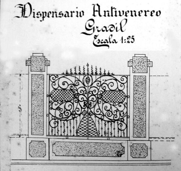 Detalhe do projeto arquitetônico do gradil do muro do Laboratório de Análises e Dispensários, em Curitiba - 1926.