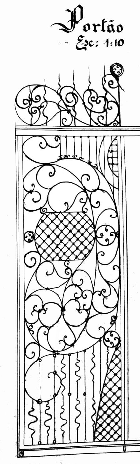 Detalhe do projeto arquitetônico do portão do Laboratório de Análises e Dispensários, em Curitiba - 1926.