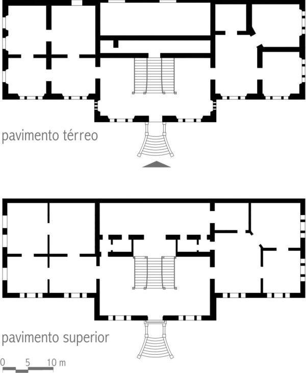 Plantas dos pavimentos térreo e superior do Dispensario e Laboratorio de Analyses, em Curitiba – 1926.
