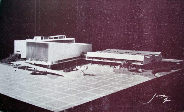 Maquete do Conjunto da Assembleia Legislativa no Centro Cívico, em Curitiba - 1953.