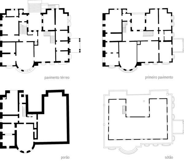 Plantas dos pavimentos térreo, superior, porão e sótão do Palacete Garmatter - 1937.
