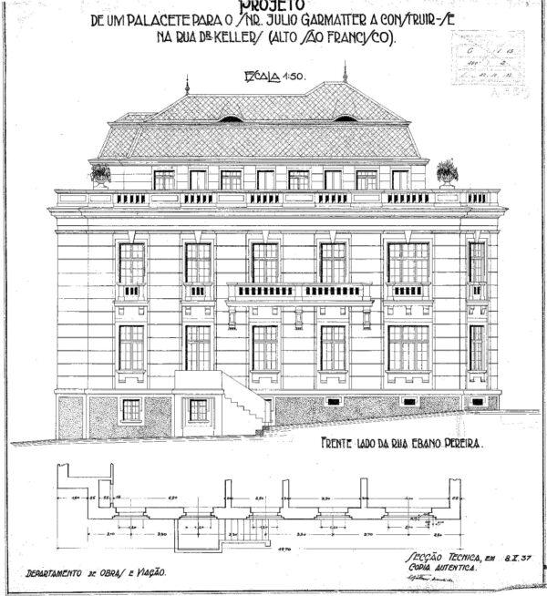 Fachada lateral direita do Palacete Garmatter - 1937.
