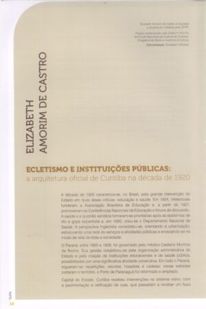Ecletismo e instituições públicas - Elizabeth Amorim de Castro - Capa Artigo