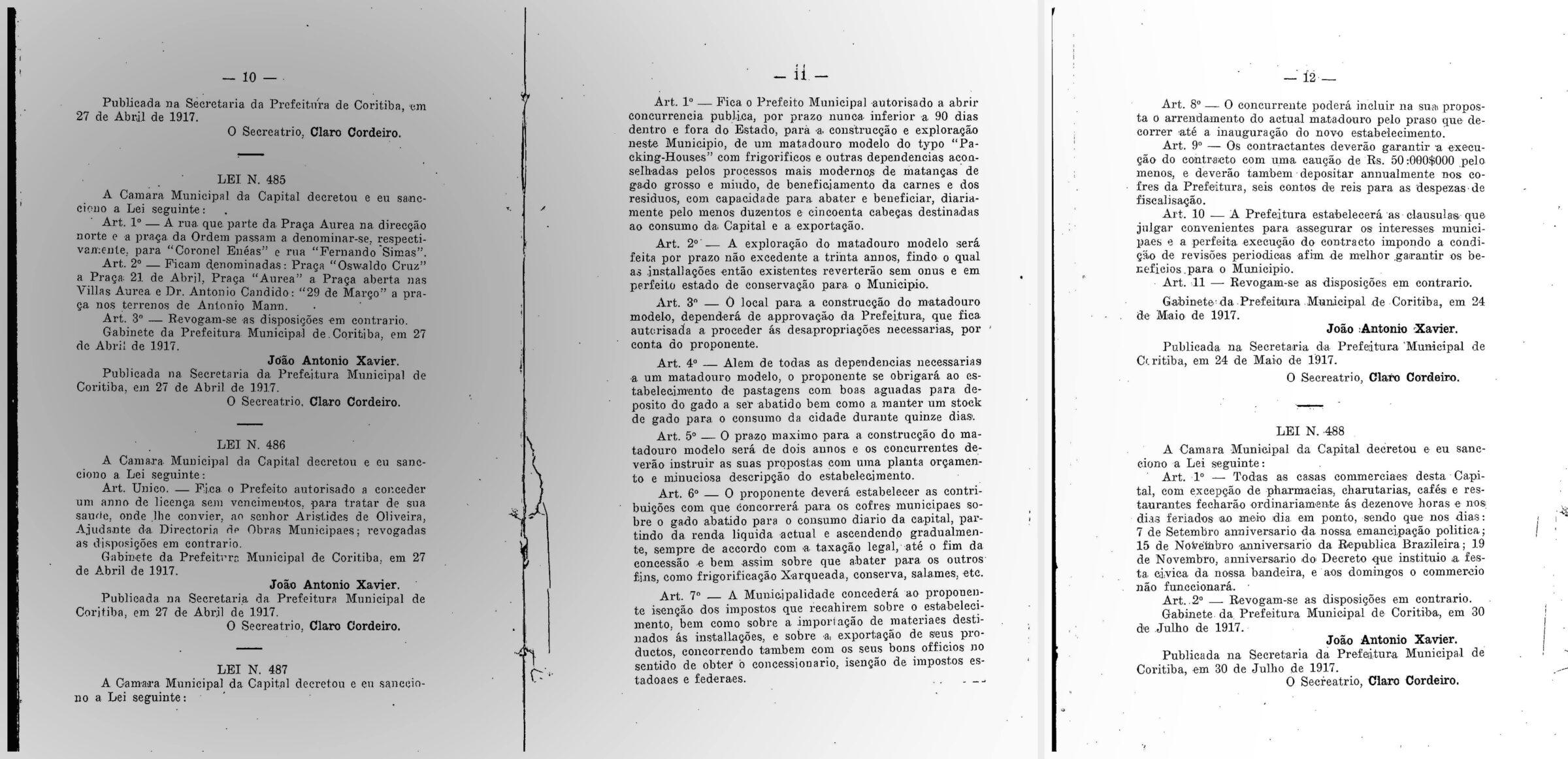 Figura 1: Lei Municipal n° 487, de 24 de maio de 1917. Fonte: CURITYBA. 1917. Annaes da Camara Municipal de Curityba. Sessões de 18 de setembro de 1916 á 1° de Agosto de 1917. Curityba: Typ. d'A Republica, 1917. (p; 10-12)