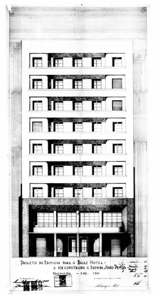 Fachada do Edifício do Braz Hotel; desenho de 1938.