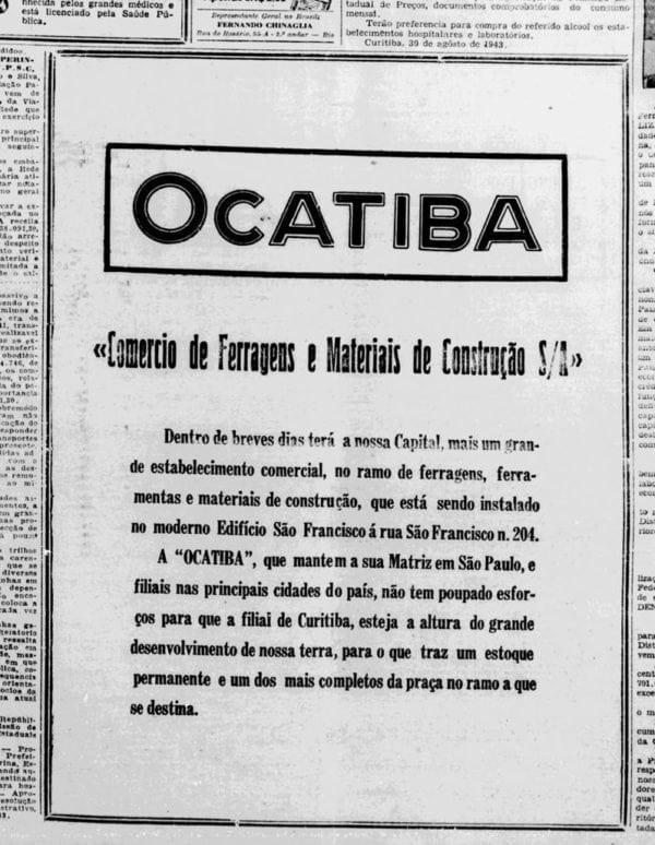 """Anúncio de loja localizada no """"moderno Edifício São Francisco"""" em 1943."""