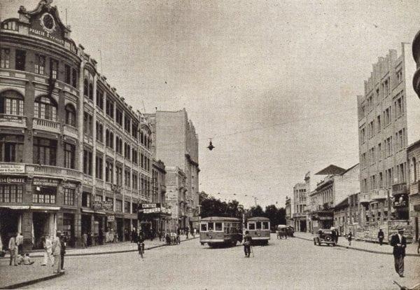 Avenida Luiz Xavier em 1935. À direita, o edifício do Majestoso Hotel.
