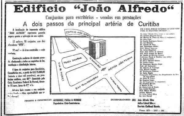 Anúncio de venda das unidades do Edifício João Alfredo em 1944.