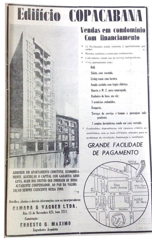 Anúncio de venda dos apartamentos do Edifício Copacabana em 1945.