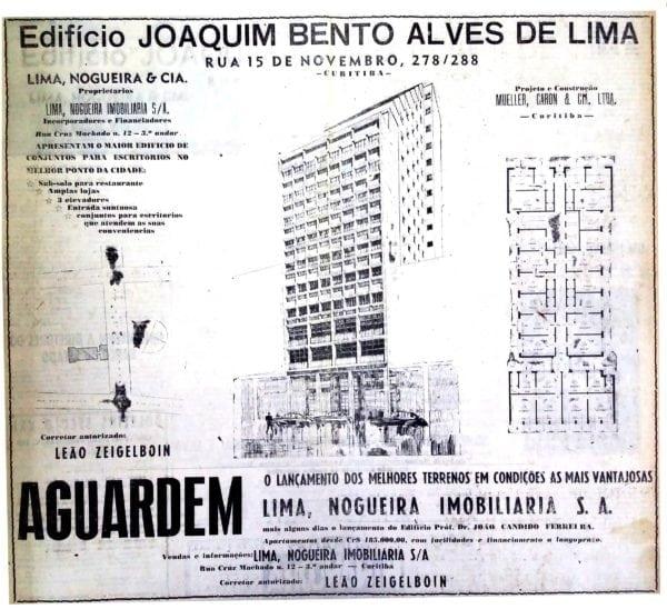 Anúncio de venda das unidades do Edifício Joaquim Bento Alves de Lima em 1951.