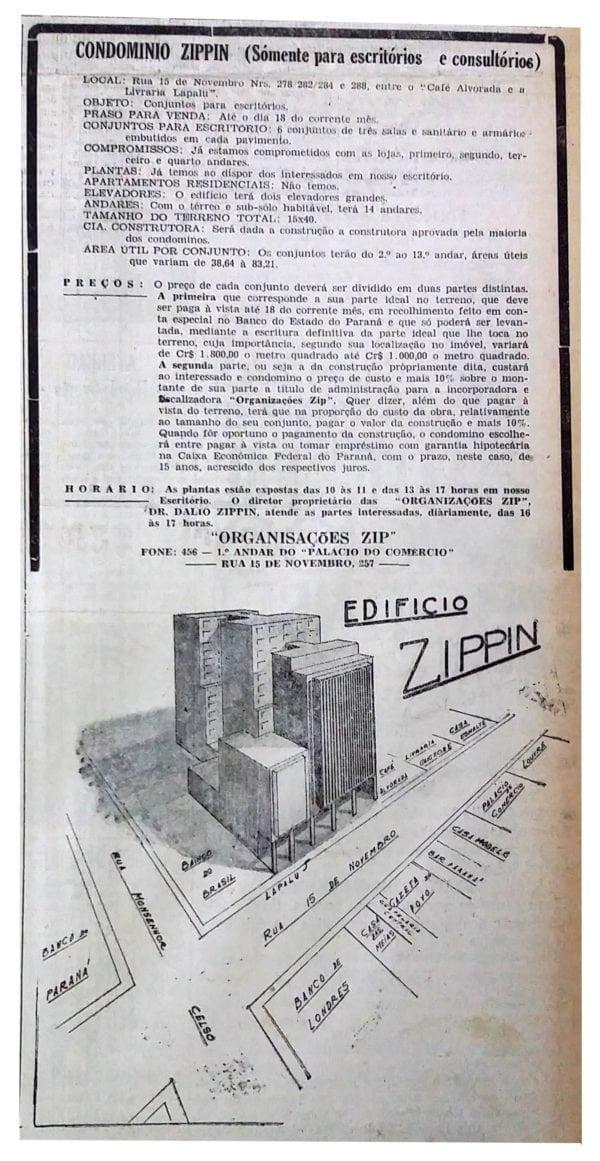 Anúncio de venda das unidades do Edifício Condomínio Zippin em 1946.
