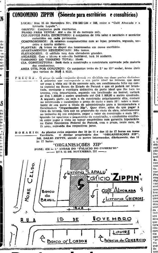 Anúncio de venda das unidades do Edifício Zippin com a indicação do Edifício da Livraria Lapalu em 1946.