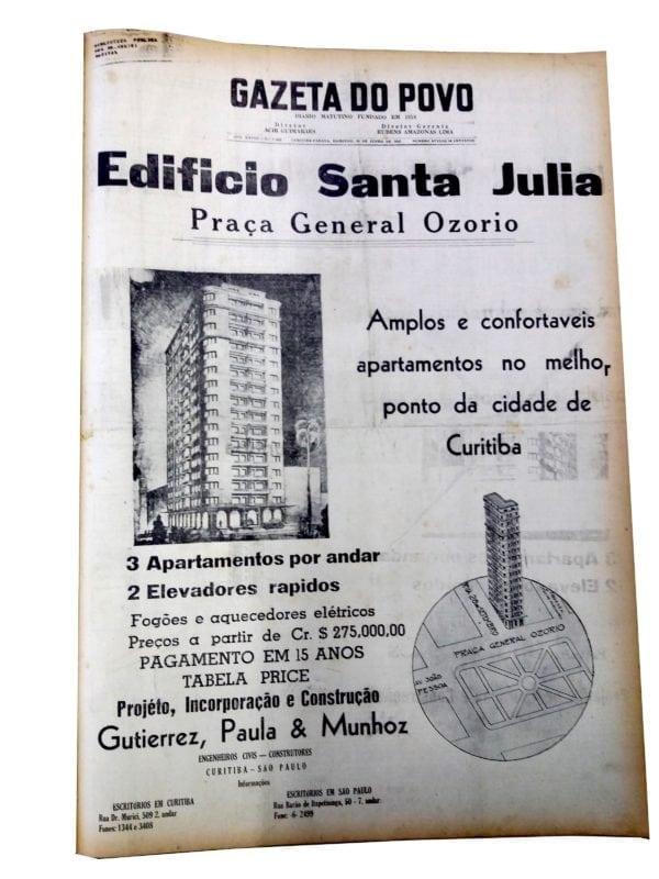 Anúncio de venda dos apartamentos do Edifício Santa Júlia em 1946.