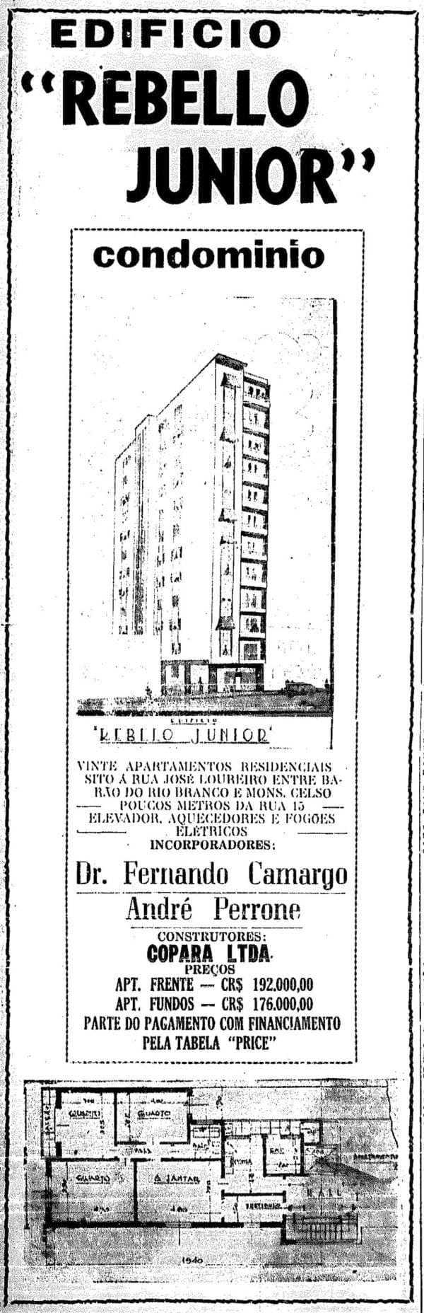 Anúncio de venda dos apartamentos do Edifício Rebello Júnior em 1946.