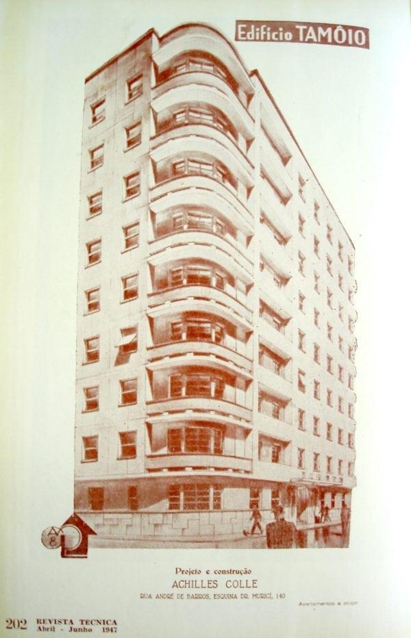Perspectiva do Edifício Tamoio; desenho de 1947.
