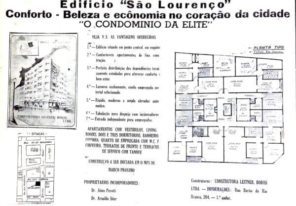 Anúncio de venda dos apartamentos do Edifício São Lourenço em 1947.