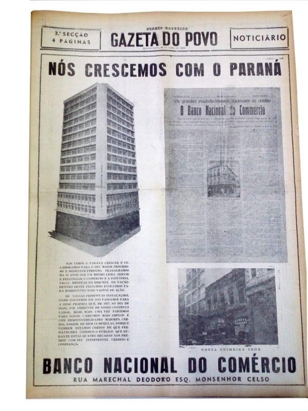 Matéria sobre a inauguração da nova sede do Banco Nacional do Comércio em 1958.