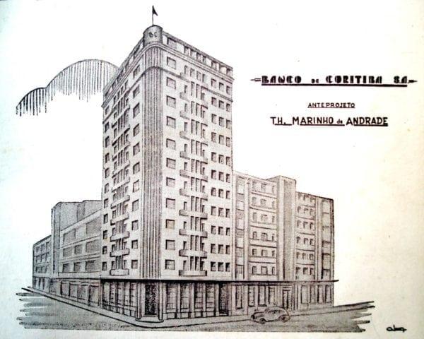 Perspectiva do Edifício do Banco de Coritiba, desenho de 1947.