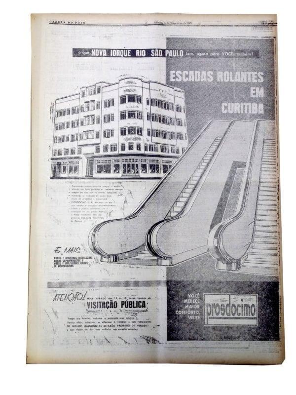 Anúncio sobre a inauguração da primeira escada rolante de Curitiba, na Loja Prosdócimo, em 1958.