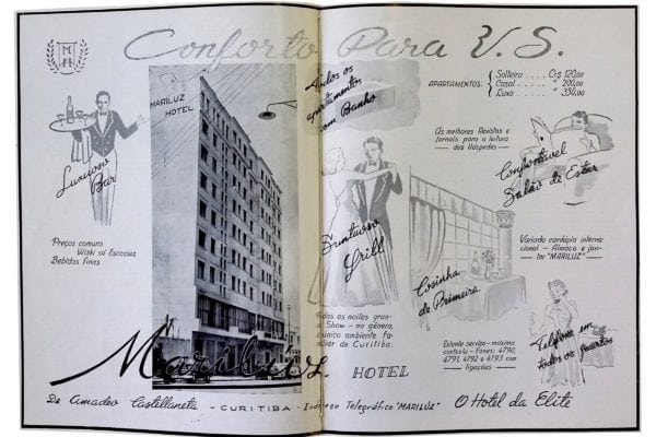 Anúncio do Hotel Mariluz em 1952.