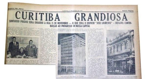 Anúncio da construção do Edifício José Loureiro na Rua XV de Novembro em 1949.