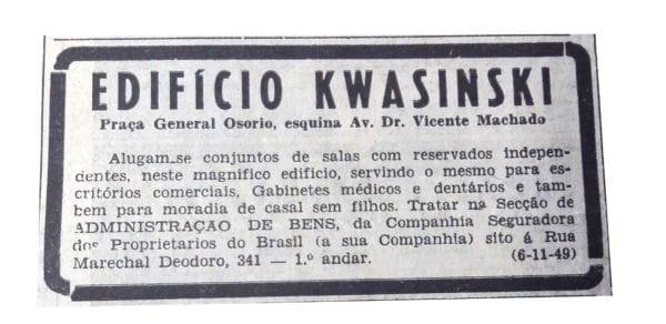 Anúncio de aluguel dos apartamentos e/ou conjuntos do Edifício Kwasinski em 1949.