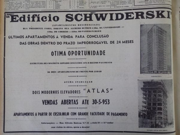 Anúncio de venda dos apartamentos do Edifício Schwiderski em 1953.