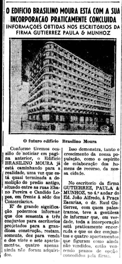 Matéria sobre o Edifício Brasilino Moura em 1950.