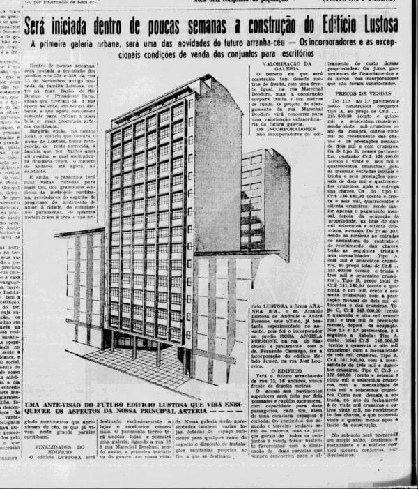 Matéria sobre o Edifício Lustoza e sua galeria em 1950.
