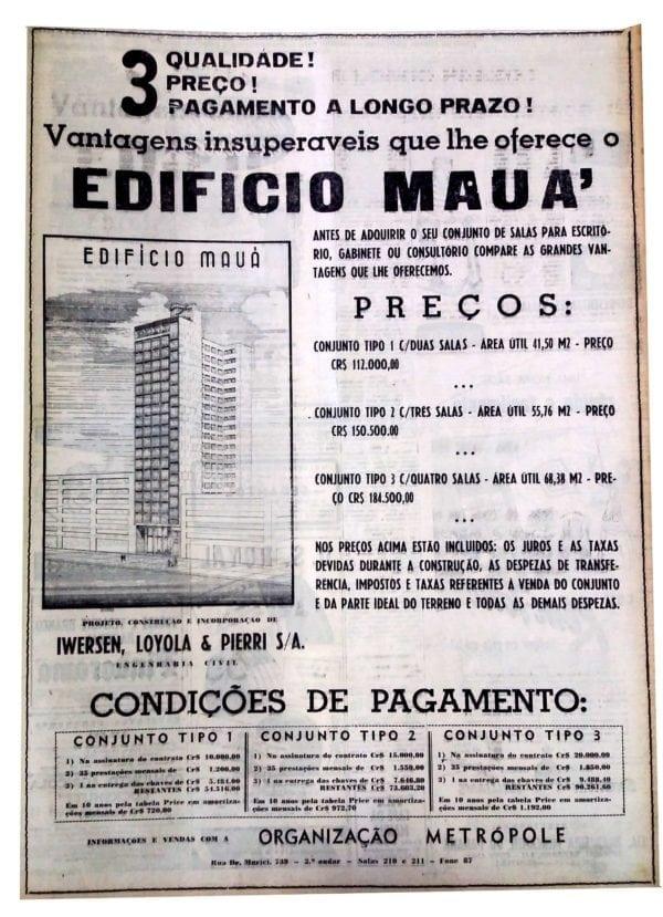 Anúncio de venda das unidades do Edifício Mauá em 1950.