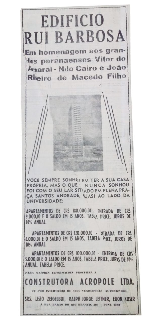 Anúncio de venda dos apartamentos do Edifício Ruy Barbosa em 1950.